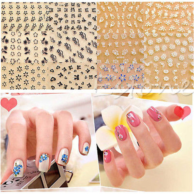 New 10pcs different 3d design tip nail art sticker decal manicure mix color flower hot sale