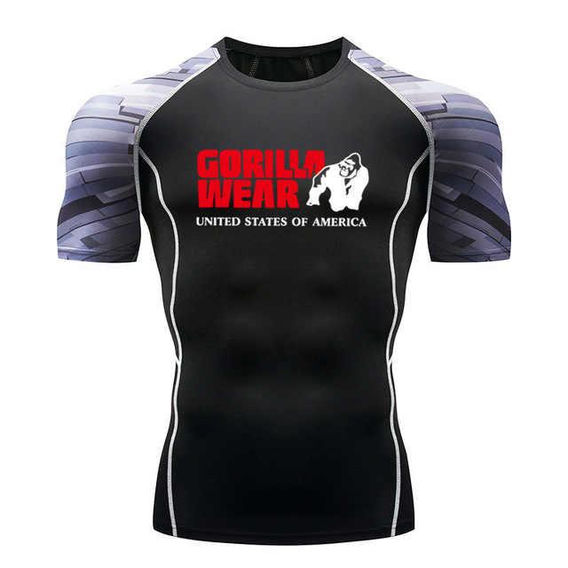 Tênis de Corrida dos homens T-Shirt Musculação Sportswear Marca Guarda Erupção Compressão Calças Justas SPORTS Mma T-shirt longo Da Luva Dos homens