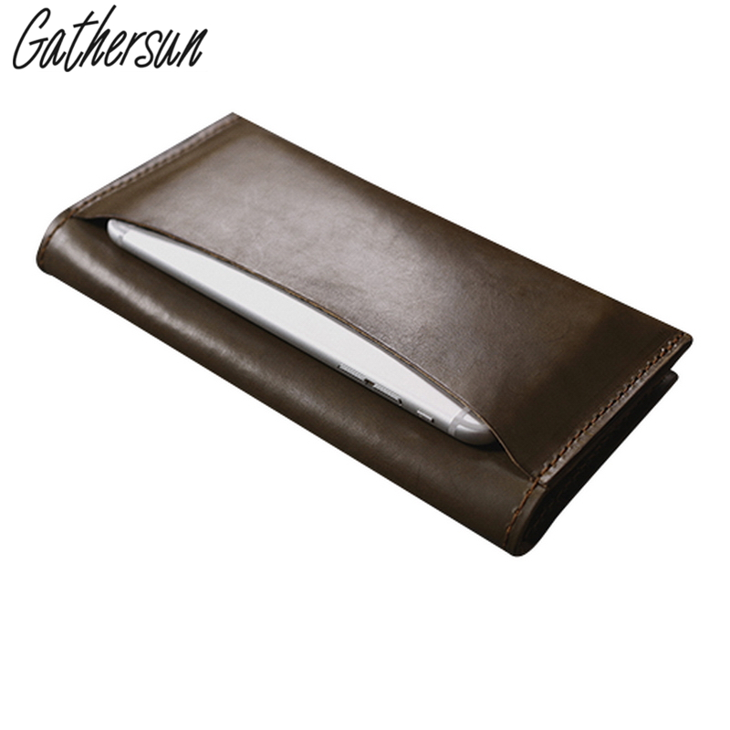 Gathersun 100% Genuine Leather Long Wallet For Men Vintage Cowhide Money Bag Leather High Quality Handmade Male Purse coheart cowhide wallet men genuine leather wallet vintage purse top quality male wallet purse small money bag wholesale price
