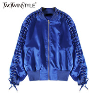 TWOTWINSTYLE Bomber Jacket for Women Coat Top Lace up Long Sleeve Female Jackets Black Clothes Korean Big Size Autumn 2017 New