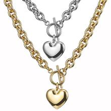 Granny Chic 8mm Oval Stainless Steel Choker Necklace Women Jewelry Heart Silver Gold Color Necklaces Accessories 16-30 Inch