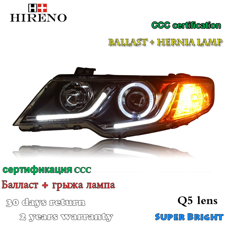 Hireno Headlamp for 2010-2014 KIA Forte Headlight Assembly LED DRL Angel Lens Double Beam HID Xenon 2pcs headlight for kia k2 rio 2015 including angel eye demon eye drl turn light projector lens hid high low beam assembly