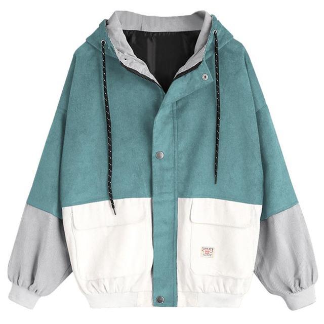 2018 Autumn Winter Coat color block Long Sleeve Corduroy Women jacket Patchwork Jacket  jeans jacket women plus size women coat 1