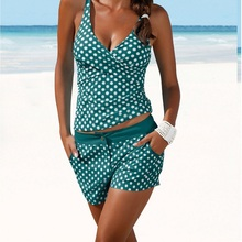 купить 2019 Sexy Polka Dot Bikini Women Swimsuit Push Up Ladies Bathing Suit Halter Swimwear Shorts Bikini Set Beach Wear Swim Biquini по цене 1273.31 рублей