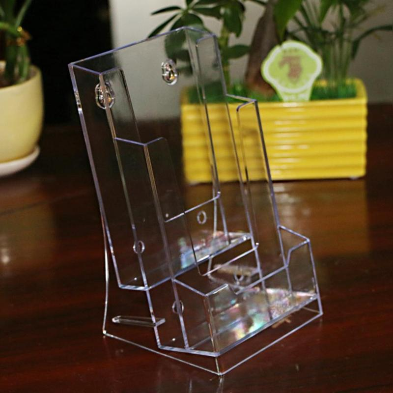 3 Grid Clear Acrylic Business Card Holder Brochure Desk Stand Pamphlet Men Bank Credit Card Transparent Holder Office Display