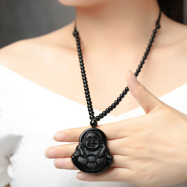 dc2a9f8d0 Sale 1PC 2017 New High Quality 8 Types Black Beads Obsidian Carving Wolf  Head Lucky Unisex Pendant Necklace