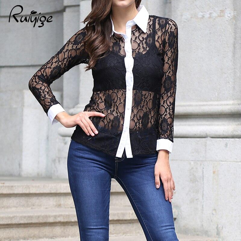 Ruiyige nuevo otoño mujeres de la moda rojo negro de manga larga de encaje blusa