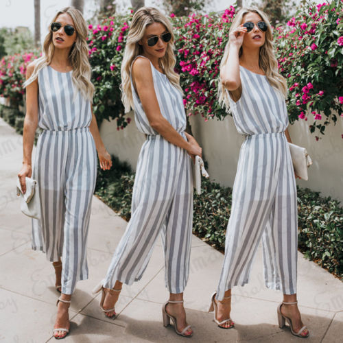 Jumpsuits Trustful 2018 Vintage Jumpsuits Hot Fashion Sleeveless O Neck Playsuits Rompers Pants Wide Leg Striped Women Ladies Hollow Casual Set
