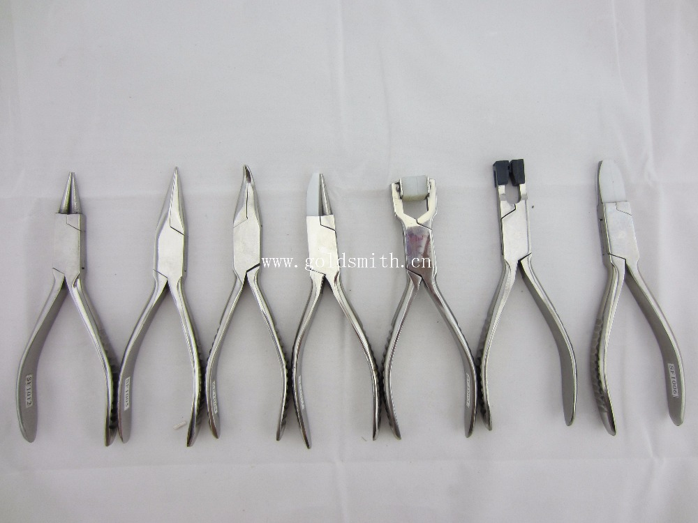 Stainless Steel Pliers Set Jewelers Making Tools Beading Needle Nylon Nose Wire Wrap Repair Pliers Set 7pcs 7pcs mini beading pliers tools round flat long nose multi size pliers set