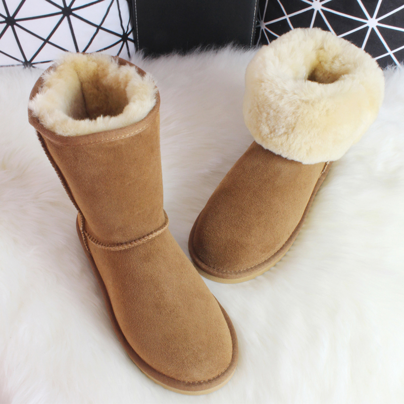 BLIVTIAE Luxury Sheepskin Snow Boots Australia Winter Sheep Fur Wool Snow Boots Classic Thick Middle Button