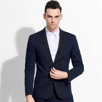 men blazer V neck deep blue single button 2017 spring autumn fashion slim fit mens blazer jacket business groom stage wear 2XL