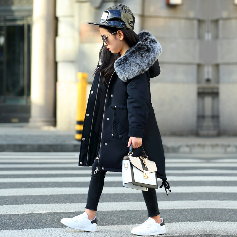 купить Dollplus 2018 Winter Coat Girls Jacket Warm Cotton Long Style Girls Thicken Coats Fashion Hooded Kids Outerwear Clothes Tops по цене 2952.45 рублей