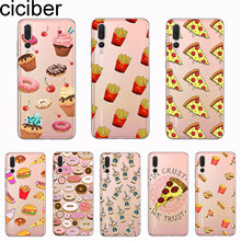 ciciber Cover For Huawei P30 P20 P10 P9 P8 Lite Pro Plus 2017 P smart 2019 Phone Cases Soft TPU Food Pizza Burger Fundas Coque(China)
