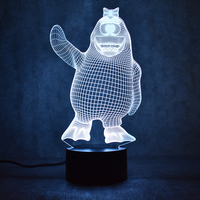 Yaratıcı Yatak Odası Başucu Masa Lambası 3D USB Görsel Led Renkli Gece Işık Lampara Bebek Uyku Aydınlatma Karikatür Penguen Lamba