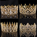 2017 New Arrival Luxury crystal Beauty Queen Big Crown Tiaras Noble Gold round Diadem for bride Wedding Hair jewelry accessory