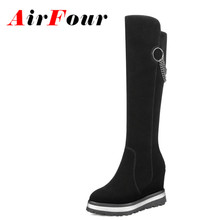 Airfour Women Charm Chains Wedges Boots Women High Heel Knee High Boots Nubuck Shoes Woman Winter Warm Boots Sexy Black Boots