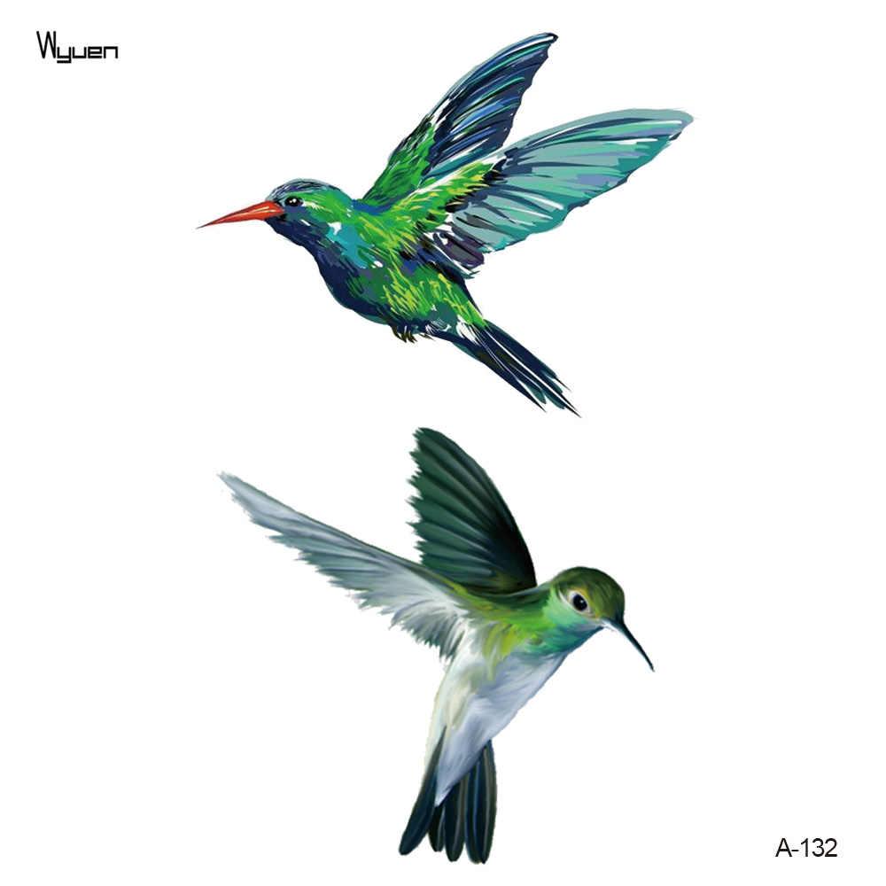 Wyuen новый дизайн колибри поддельные татуировки оригинальный цветок