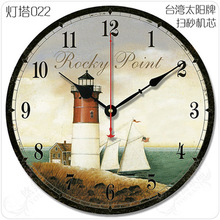 12″ The Mediterranean European pastoral village retro living room wall clock simple decoration wooden lighthouse clock mute