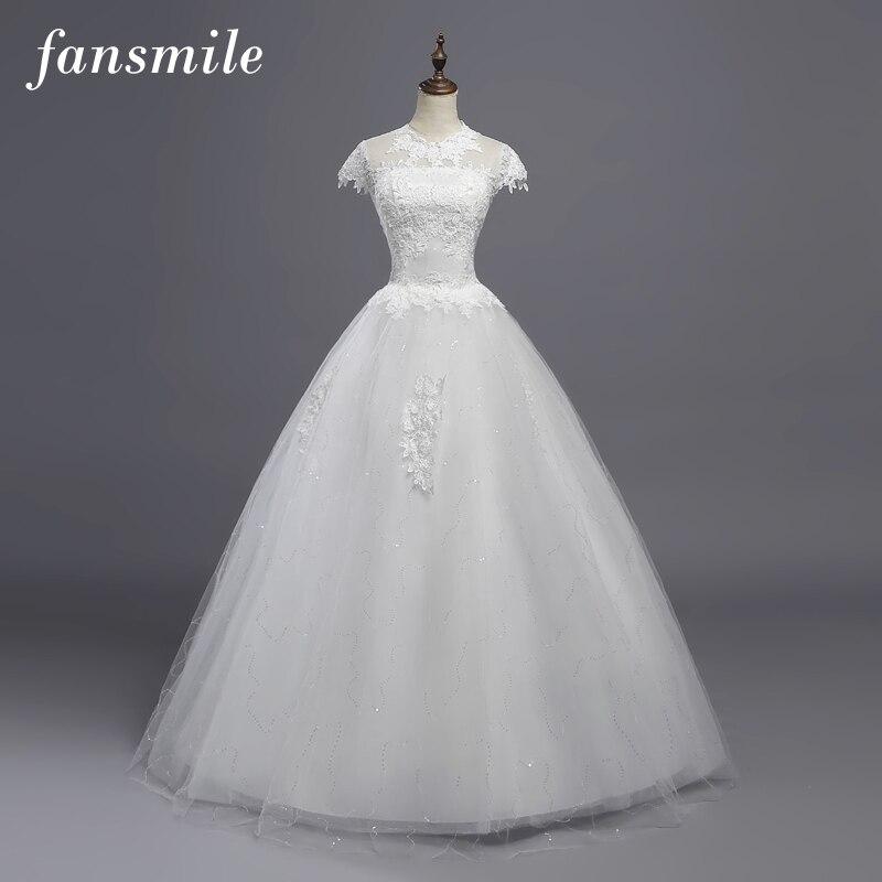 Fansmile Réel Photo Pas Cher Vintage Dentelle Boule Robes De Mariée 2018 Robe de Mariée Sur Mesure Plus Size Robes De Mariée FSM-368F