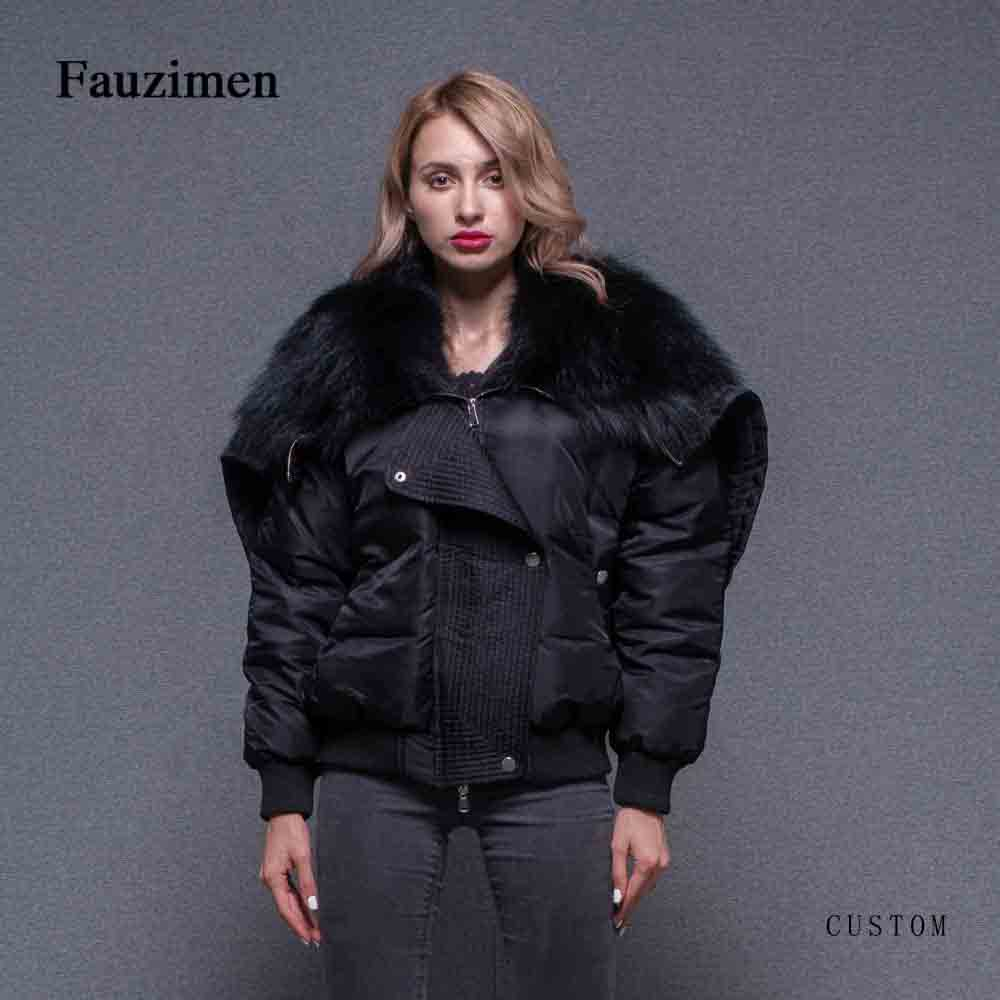 New Women Winter Coat Big Raccoon High Quality Fur Hooded bomber jacket windbreaker women ladies jackets