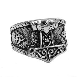 Tribal Symbol Myth Thor Hammer Ring Stainless Steel Jewelry Norse Viking Rune Wolf Skull Biker Men Ring Wholesale SWR0758