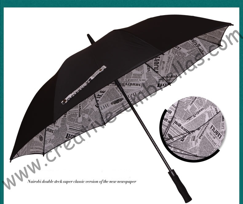 210T pongeee visible double layers newspaper golf umbrellas.fiberglass,auto anti static,anti-thunder,inner pocket inside panel