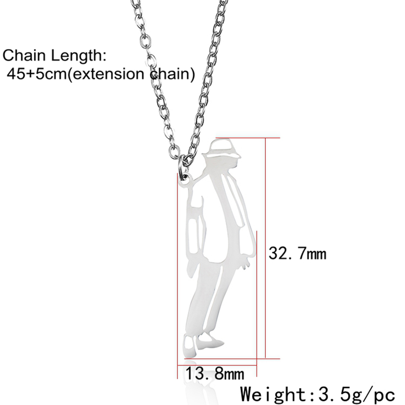 Michael Jackson Pendant Necklace Stand up Dance Classic Posture Stainless Steel Gold Unique Charm Women Men Fashion Jewelry