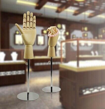 Регулируемая высота деревянная ручная форма пальцы движущаяся сумка кошелек часы держатель ювелирных изделий настольная стойка для хранения