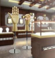 Adjustable height wooden handmould fingers moving bag wallet purse watch jewelry holder desktop rack storage