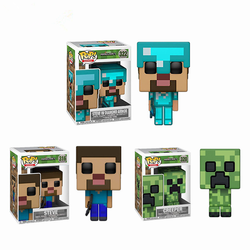 Funko Pop Anime Game Minecraft-#322 STEVE IN DIAMOND ARMOR CREEPER STEVE Action Figure Model Toys Collection Kids Birthday Gifts