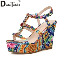 DoraTasia Top Quality Colorful Crystals Printing Brand Women Shoes Platform High Heel Gladiator Wedding Sandals Woman
