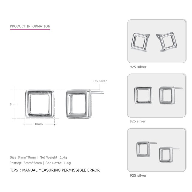 e-Manco Geometry Square 925 Sterling Silver Stud Earrings Simple and Cute Style Outdoor Fine Jewelry for Women