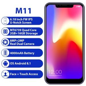 Image 2 - LEAGOO M11 2GB 16GB Mobile Phone Android 8.1 6.18 MTK6739 Quad Core 4000mAh 8MP dual camera Fingerprint Face ID 4G Smartphone