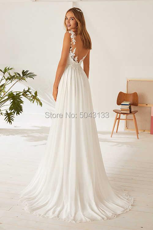 Шифоновое свадебное платье Boho 2019 с кружевной аппликацией, длинное пляжное в пол свадебные платья, платья невесты, сексуальное платье с открытой спиной De Mariee