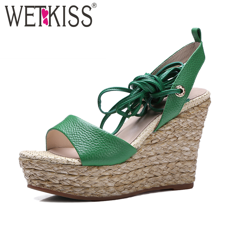 WETKISS Genuine Leather Ankle Strap Gladiator Sandals Cozy Platform Natural Straw Weave Wedges Shoes Woman Summer Women Sandals phyanic 2017 gladiator sandals gold silver shoes woman summer platform wedges glitters creepers casual women shoes phy3323