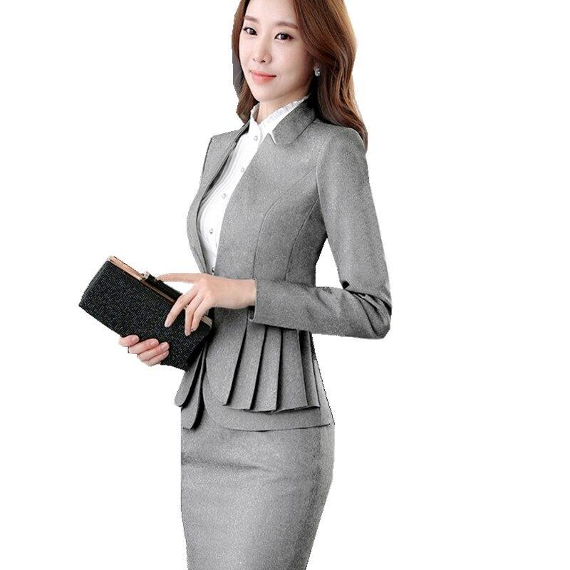 Woman Skirt Jacket Tailleur Femme Jupe et veste elegant Full Sleeve Ruffle Blazer Skirt 2 Pieces