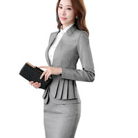 Fmasuth Elegant Ruffle Office Uniform Skirt Suit Autumn Full Sleeve Blazer Jacket+Skirt 2 Pieces Female Work Skirt Suits ow0380