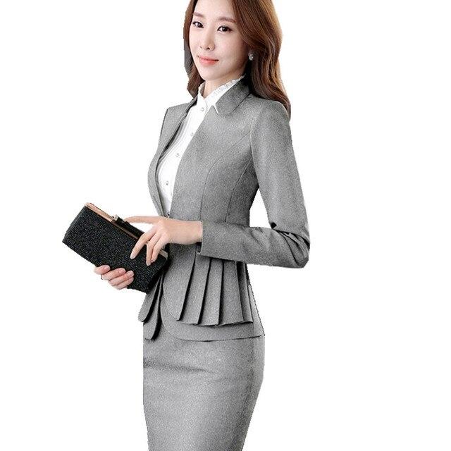 50a13754d8 Tailleur Jupe Femme et Elegante Plissado Uniforme Escritório Terno de Saia  Blazer Luva Cheia Jaqueta +