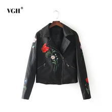 VGH 2017 Autumn New Suit-dress European Fashion All-match Thin Embroidery Embroidered Locomotive Leather Jacket Loose Coat A4599