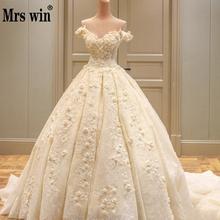 2020 로얄 기차와 꽃 아플리케 웨딩 드레스 섹시한 보트 목 웨딩 드레스 레이스 긴 기차 웨딩 드레스 vestido de noiva