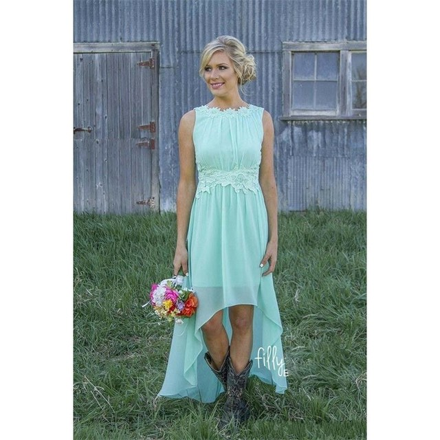 2b78438bed9 Mint Green High Low Rustic Bridesmaid Dresses 2019 Sleeveless Round Neck  Short Front Long Back Informal Country Bridesmaid Dress