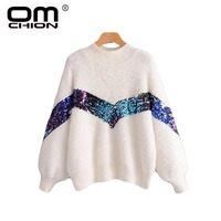 OMCHION Chaqueta Mujer 2018 Korean Turtleneck Mohair Sweater Women Casual Sequines Winter Thicken Pullover Sweet Jumper LMM108