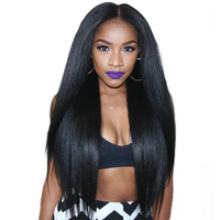Light Yaki Human Hair Malaysian Virgin Hair Bundles Yaki Straight Natural Black Can By 3 or 4 Piece For Full Head