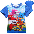 2016 New Boys T-shirts Superwings Children Clothes Cotton Cartoon Short Sleeve Top Tees Baby Kids Clothing