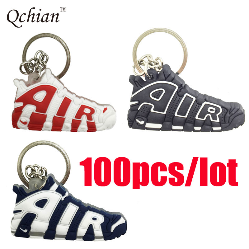100pcs lot AIR Keychain Woman Kids Key Rings Gifts Silicone Sneaker Shoes Key Chains Holder Jordan