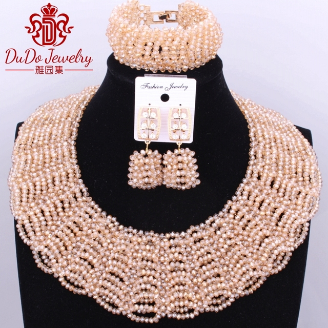 Gold-Color Big Design Dubai Indian African Nigerian Wedding Beads Jewelry Set Copper Christmas Costume Jewelry Set Bride Beads