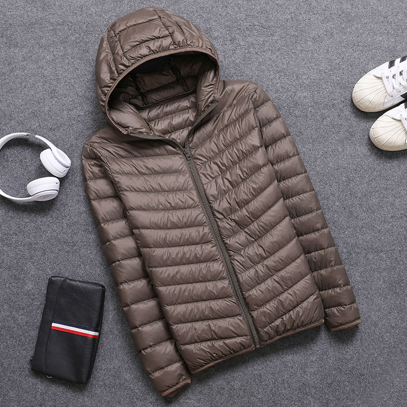 cacc40a247b80 Spring Autumn Mens Hooded Jacket Fashion Lightweight Portable with Hat Plus  Size 4XL 5XL Male Duck Down Slim Coat Clearance Sale