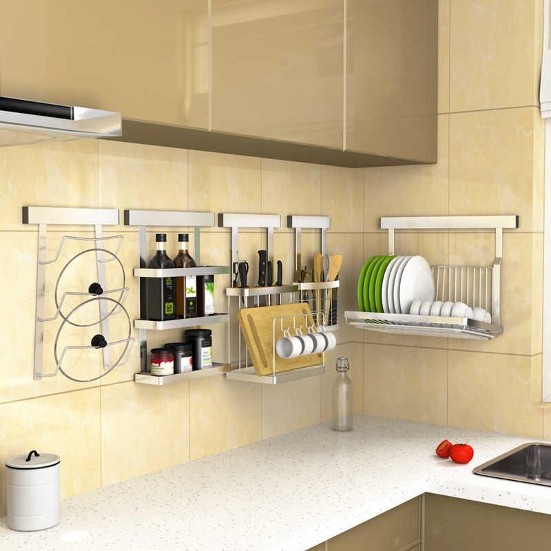 Punch Free Kitchen Storage Rack Shelf Stainless Steel Wall-mounted Holder  Multifunction Kitchen Organization Tools
