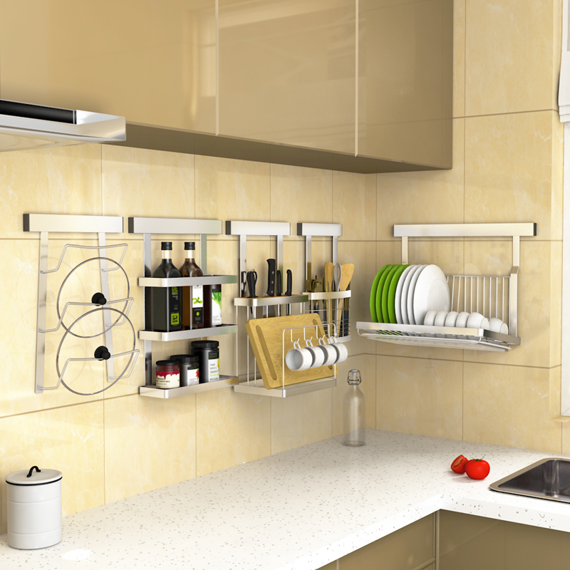 Kitchen Organization Tools: Punch Free Kitchen Storage Rack Shelf Stainless Steel Wall