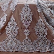 La Belleza New Bride fashion off white pure white  super heavy pearls beading wedding dress lace fabric
